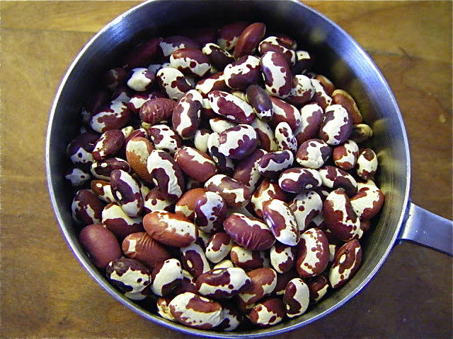 Dried Anasazi beans, Nancy's favorite for this soup.