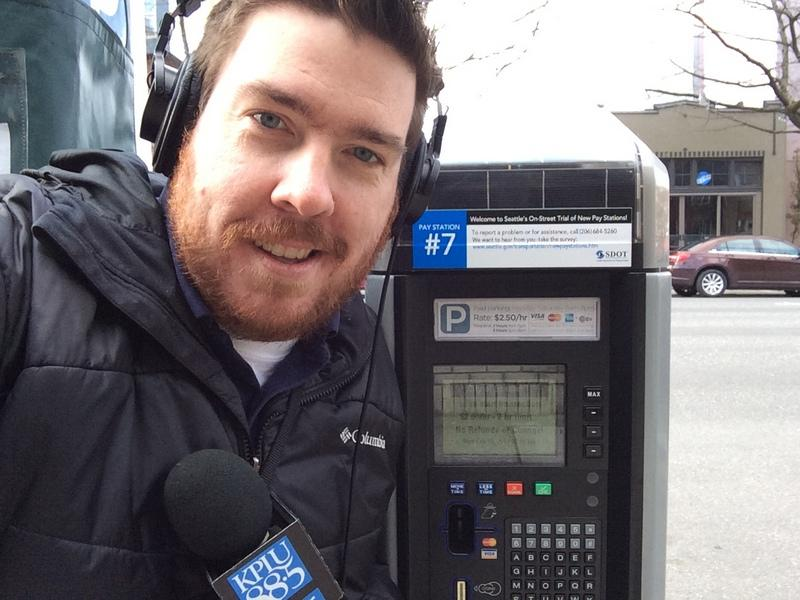 Ed Ronco with the IPS Freedom parking pay station, on Fourth Avenue between Blanchard and Bell.