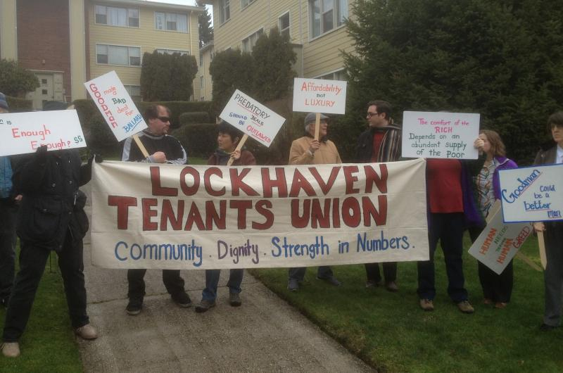 Residents protest outside Ballard's Lockhaven Apartments on Thursday, Feb. 20, 2014.