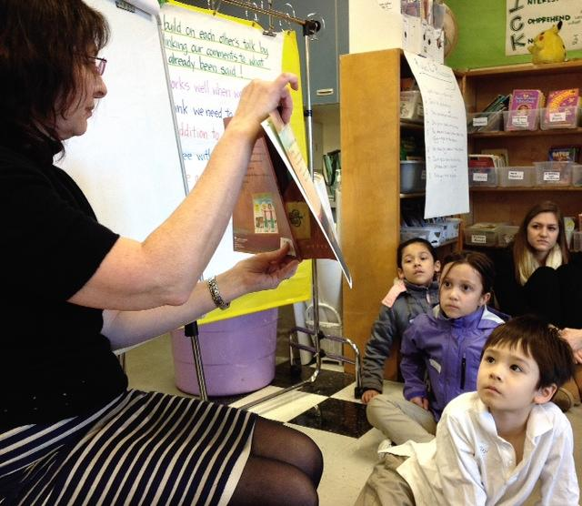 Jana Mohr Lone leads a philosophy class at John Muir Elementary