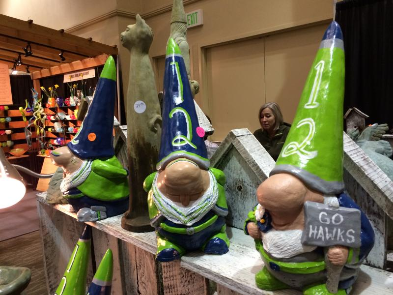 Garden trinkets available for sale include something for everyone, even Seahawks fans.