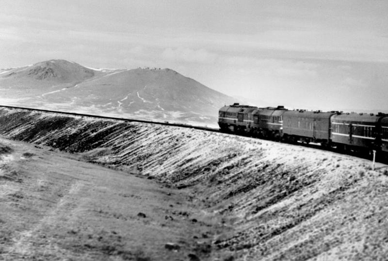 An undated picture shows Trans-Siberian railroad taking curve on a winter day near the Mongolian capital Ulan-Bator.
