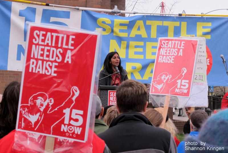 A $15/hour minimum wage has been Seattle city council member Kshama Sawant's signature issue