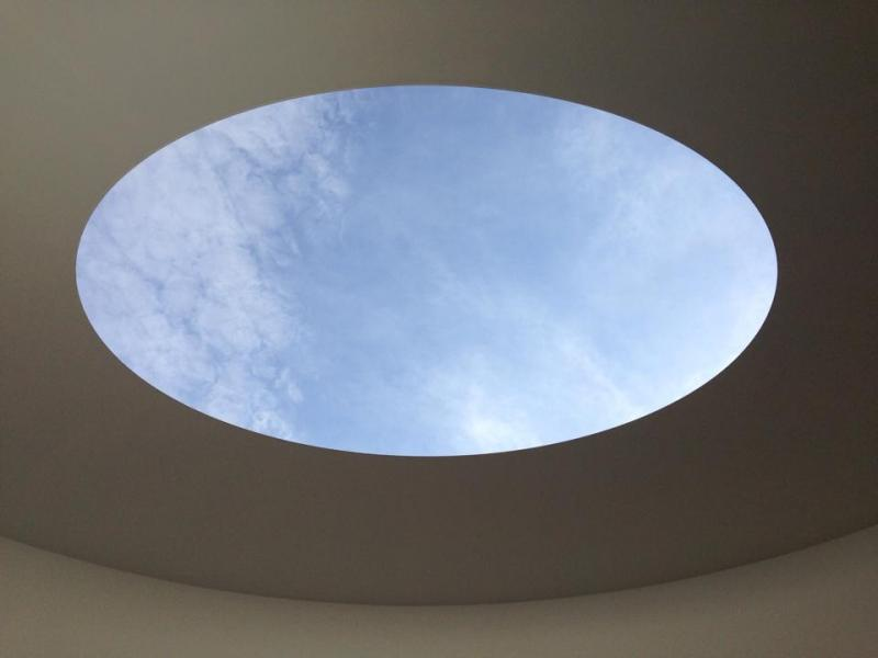This photo shows the view from the James Turrell Skyspace at the Henry Art Gallery.