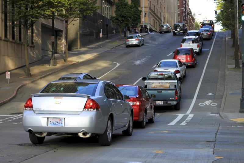 This photo shows a traffic jam at Spring Street and Third Avenue in Seattle.