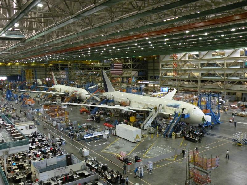 Dreamliners in production at Boeing's Everett factory