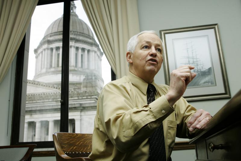 FILE - Washington State Insurance Commissioner Mike Kreidler is interviewed in his office Friday, Jan. 11, 2008, at the Capitol in Olympia.