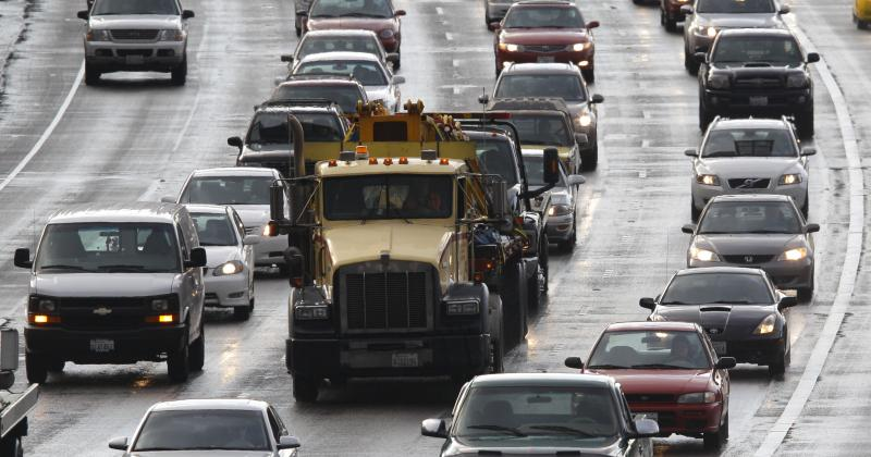 Heavy traffic is shown on north-bound Interstate Highway 5, Monday, Oct. 24, 2011, in Seattle.