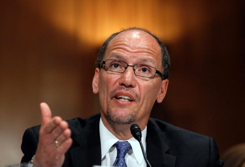 FILE - In this April 18, 2013, file photo, Labor Secretary nominee Thomas Perez testifies on Capitol Hill in Washington, before the Senate Health, Education, Labor and Pensions Committee hearing on his nomination.