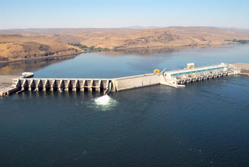 This undated photo provided by Grant County (Wash.) public utility, the Wanapum Dam on the Columbia River, Wash., is shown.