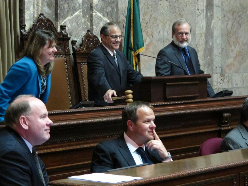 Washington Lt. Gov. Brad Owen, center, back row, gets ready to gavel the Senate into order to kick off the special legislative session, on Monday, May 13, 2013, in Olympia, Wash.