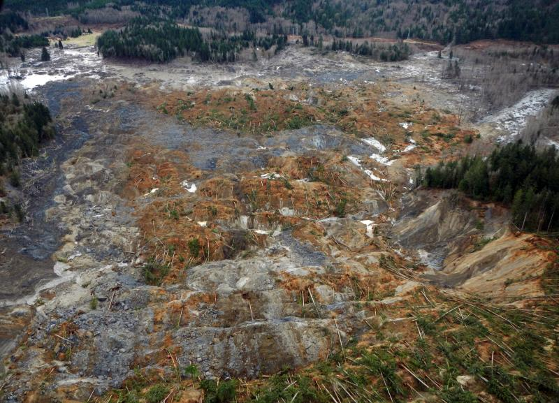 This March 22, 2014 photo, made available by the Washington State Dept of Transportation shows a view of the damage from Saturday's mudslide in Oso, Wash.