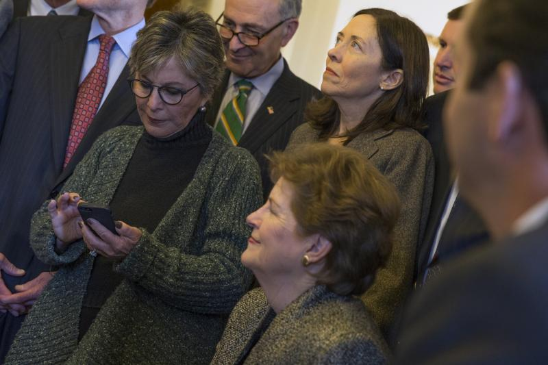 Sen. Barbara Boxer, D-Calif., left, is joined by Sen. Chuck Schumer, D-N.Y., Sen. Jeanne Shaheen, D-N.H., and Sen. Maria Cantwell, D-Wash.