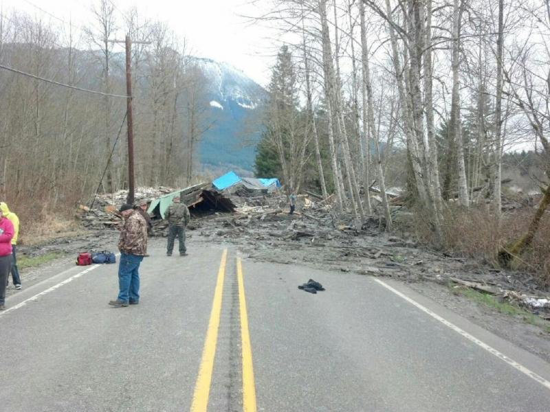 This photo provided by the Washington State Patrol shows the aftermath of a mudslide that moved a house with people inside in Snohomish County on Saturday March 22, 2014.