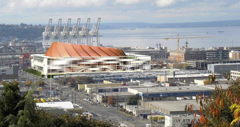 In an image provided by 360 Architecture Inc., a view of Seattle includes the preliminary preferred design for a new arena being planned to house an NBA basketball team.