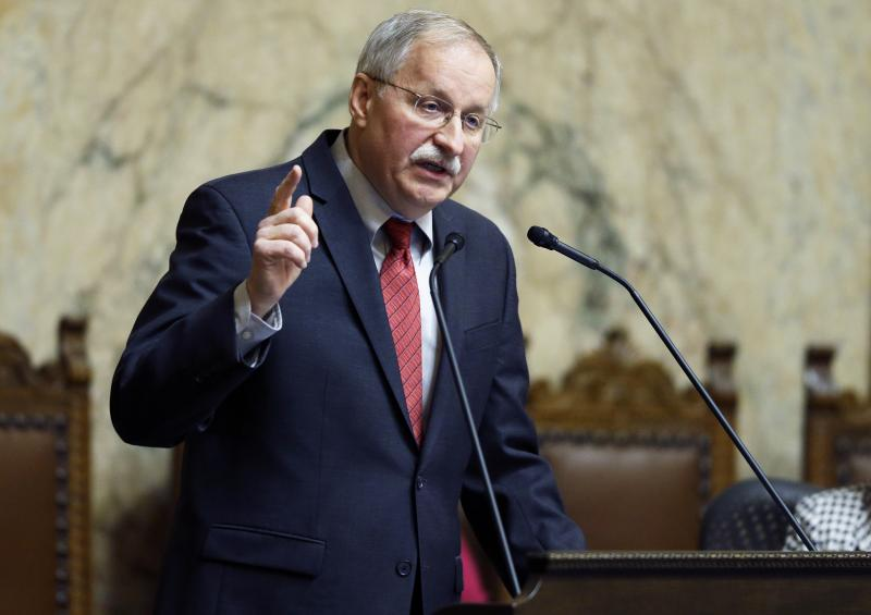 FILE - House Speaker Frank Chopp, D-Seattle, speaks to the House on the first day of the 2014 session of the Washington state Legislature, Monday, Jan. 13, 2014, at the Capitol in Olympia, Wash.