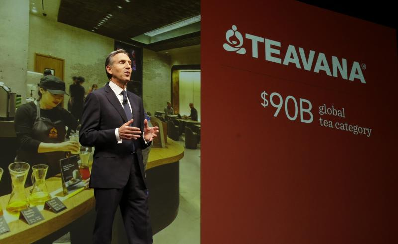 Howard Schultz, chairman and CEO of Starbucks Coffee Company, talks about Starbucks' Teavana tea products, Wednesday, March 19, 2014, at the company's annual shareholders meeting in Seattle.