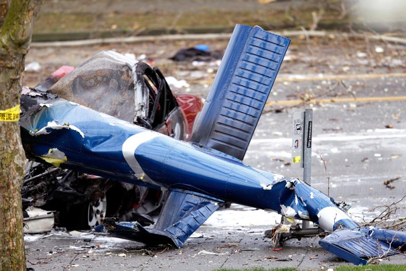 The wreckage of the KOMO news helicopter.