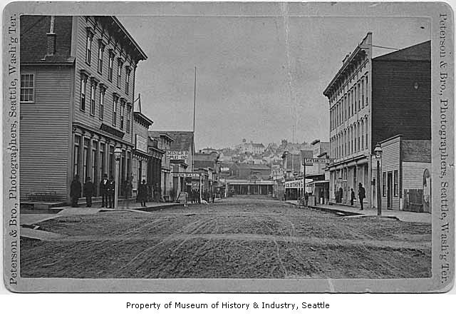In 1884, the intersection of First Avenue South and Main Street looked like this. Bertha now sits 60 feet below the same area.
