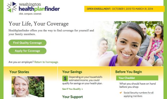 This screen grab shows Washington Healthplanfinder's website.