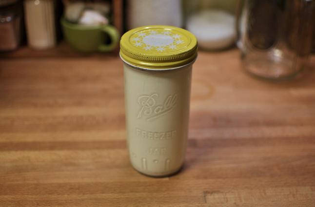 A jar of homemade créme fraîche.