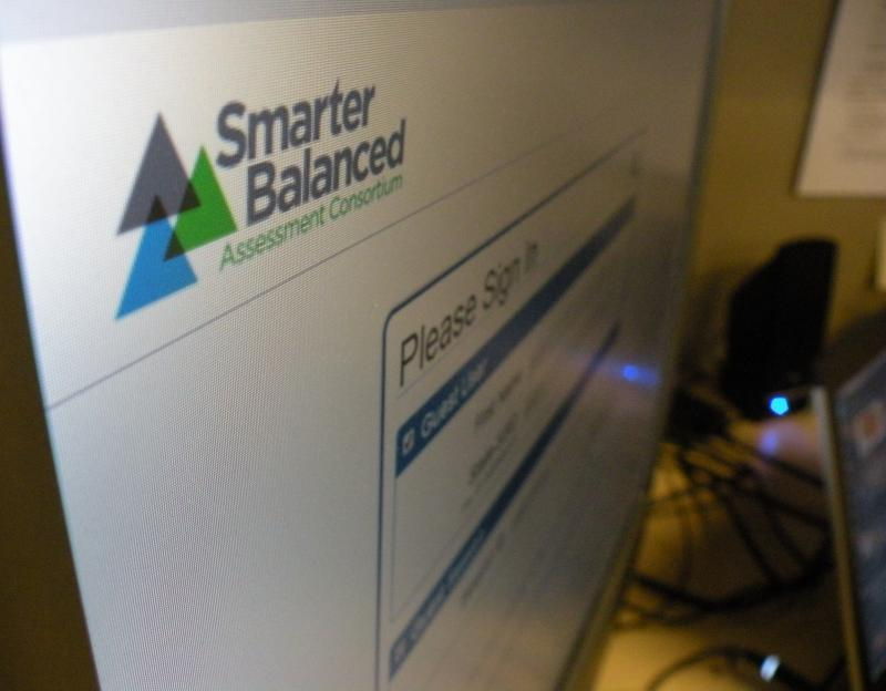 The online login screen for a practice exam from Smarter Balanced, a consortium developing tests aligned to new, nationally-crafted academic standards called the Common Core for use in 22 states.