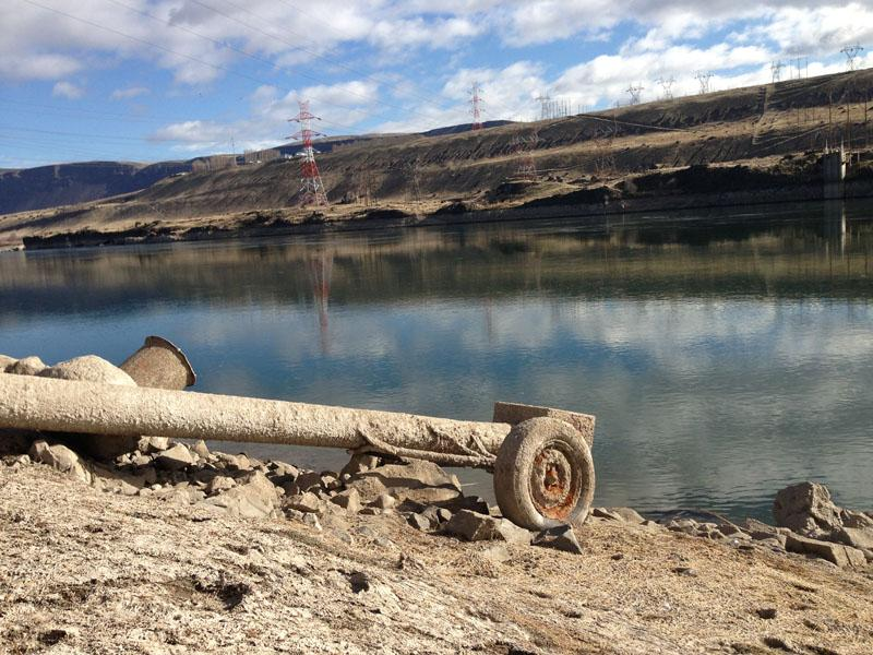 Because of the drawdown, this irrigation pipe for cherry orchards that lies four miles downstream from Rock Island Dam cannot reach water in the Wanapum pool.
