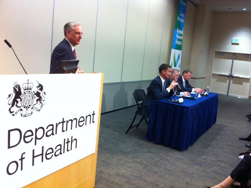 The English health secretary, along with other health officials, announced patient safety reforms at Virginia Mason Medical Center in Seattle.