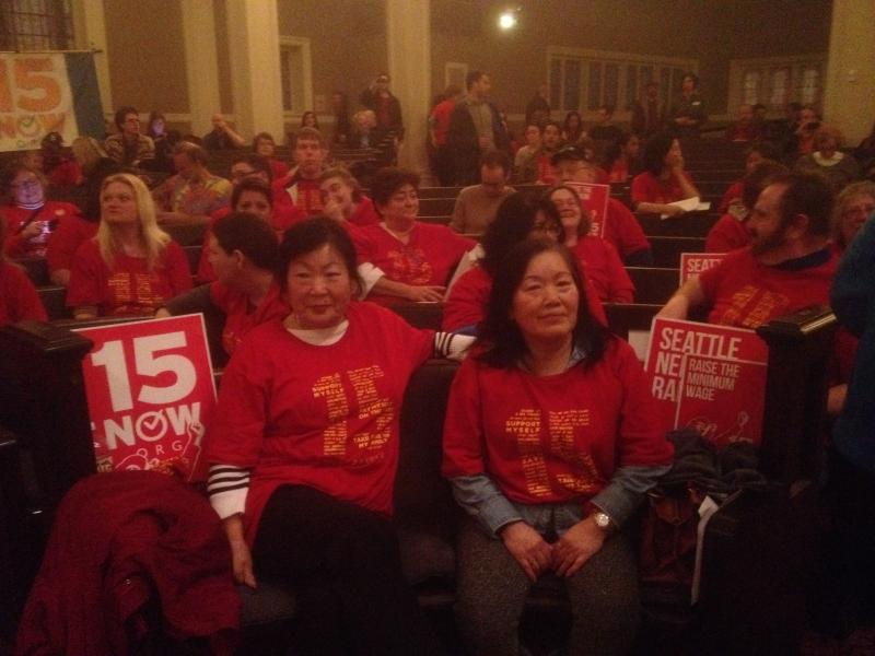 Workers and activists showed up to speak in favor of a $15/hour minimum wage