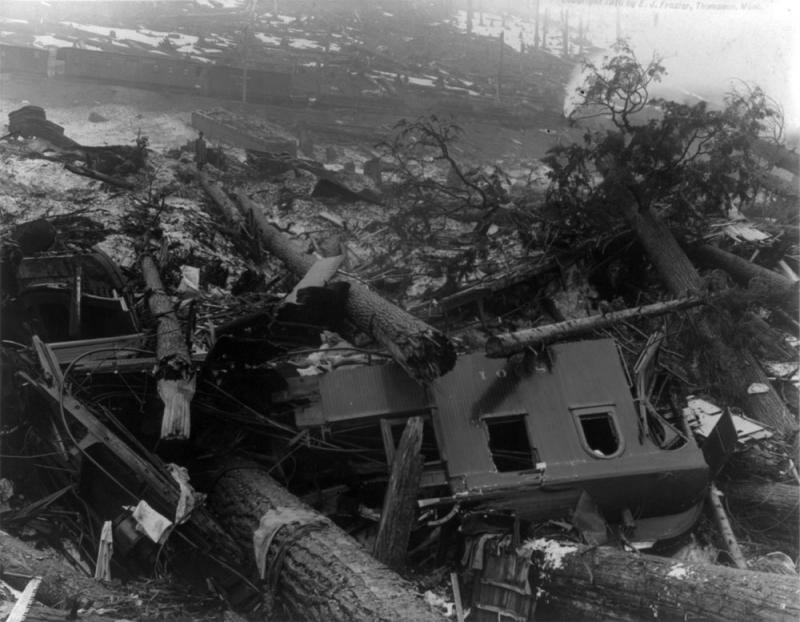 File photo of the wreck of one of the trains that was hit by an avalanche at Wellington, Wash., on March 1, 1910.