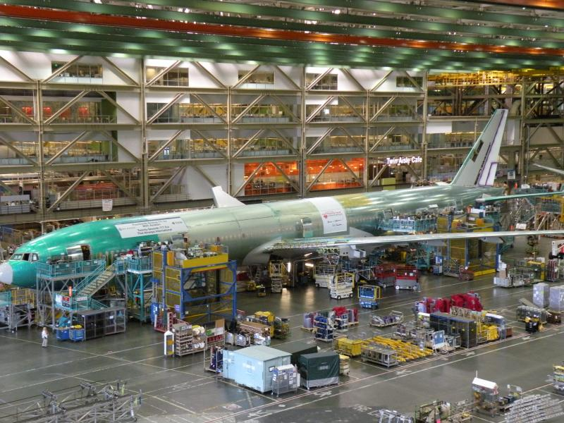A 777 being assembled in Boeing's Everett plant