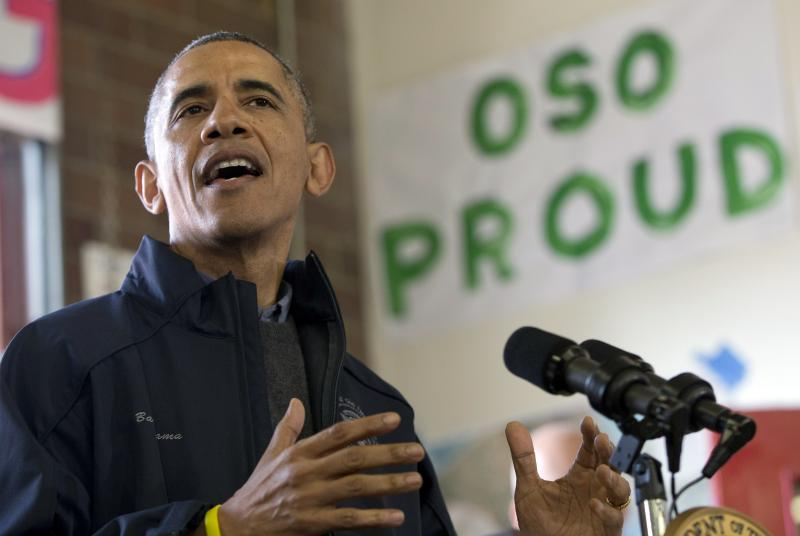 President Barack Obama speaks to first responders, recovery workers and community members at the Oso Fire Department in Oso, Wash., Tuesday, April 22, 2014.