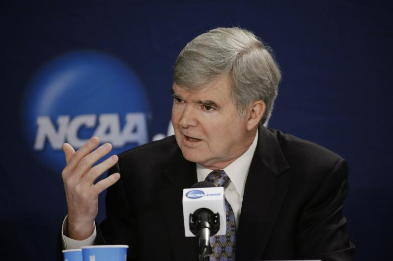 NCAA President Mark Emmert answers a question at a news conference Sunday, April 6, in Arlington, Texas.