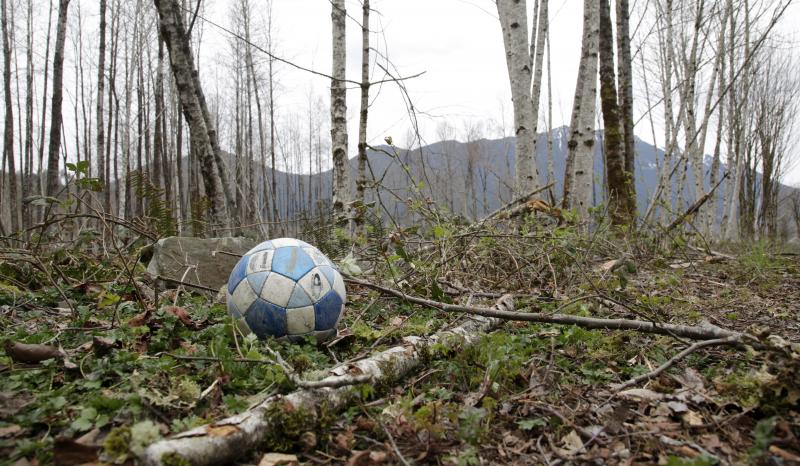 A soccer ball sits adjacent to the Whitehorse Trail near where it landed after a deadly mudslide nearly two weeks earlier, Thursday, April 3, 2014, in Oso, Wash