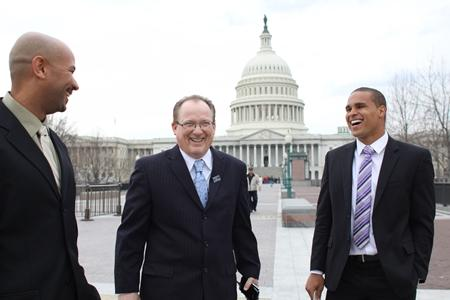 From left, former Northwestern University football quarterback Kain Colter, Ramogi Huma, founder and President of the National College Players Association and Tim Waters, Political Director of the United Steel Workers, on Capitol Hill this week.