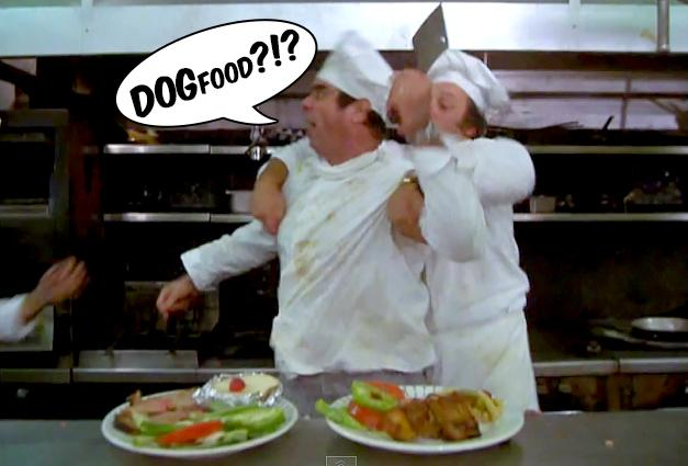 From Caddyshack: The chef reacts badly to Rodney Dangerfield's critique.