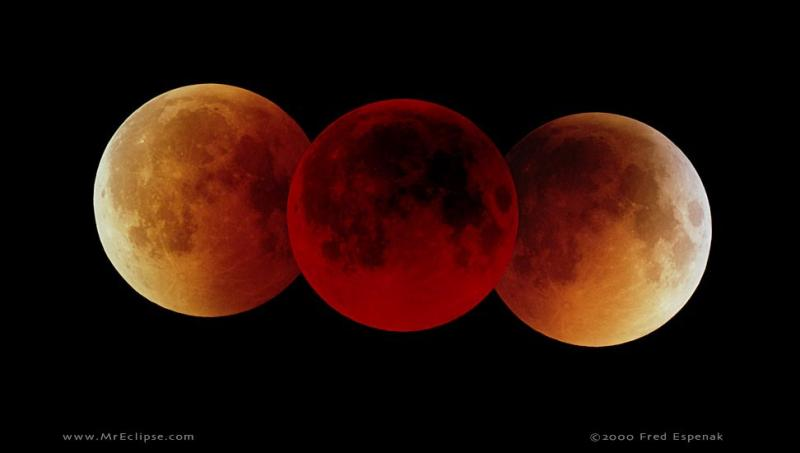 "The ""blood moon"" glows reddish in the Earth's shadow."