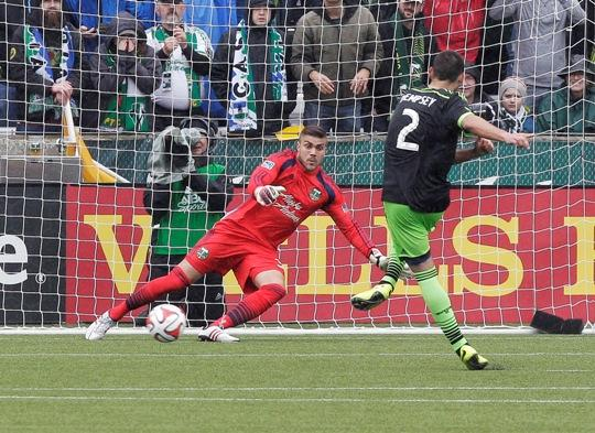 Sounders midfielder Clint Dempsey scores on a penalty kick to tie the game against the Portland Timbers on Saturday, April 5, 2014. He scored his first-ever hat trick in that game. The two teams tied 4-4.
