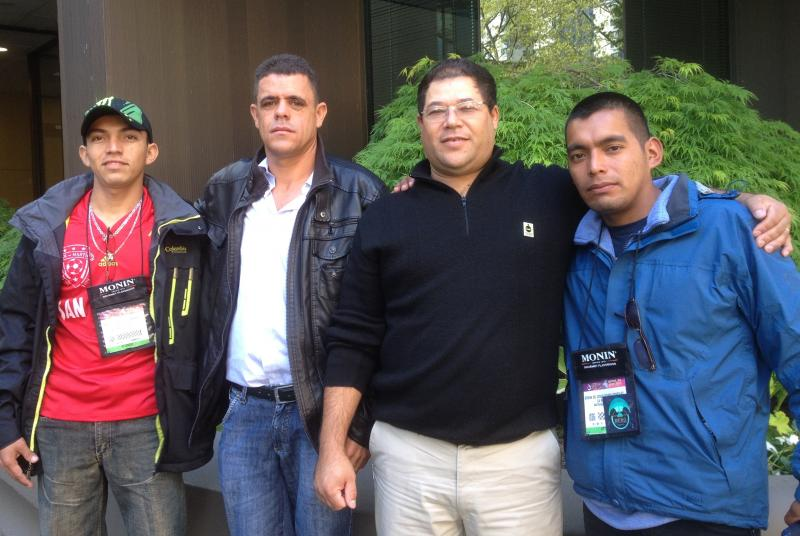 From left to right, coffee farm workers Norman Gonzalez, Elio Machado, Marcos Camilo and Erwin Ochoa are seen.