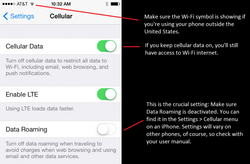 Most phones have settings to turn off data roaming. This is what the menu looks like on an iPhone 5S.