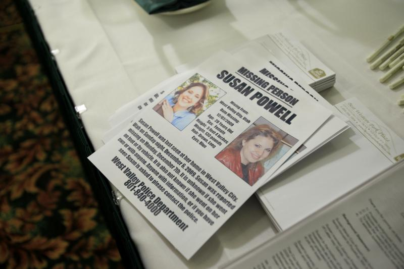 FILE - A flier seeking information on the whereabouts of Susan Powell, who was reported missing Dec. 7, 2009, in Utah, is shown, Thursday, Dec. 17, 2009, at a press conference in Puyallup, Wash.