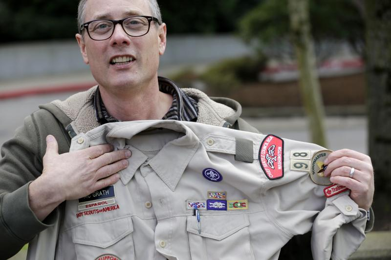 Geoff McGrath is seen on Tuesday, April 1, 2014, in Bellevue, Wash. The Boys Scouts of America has removed McGrath, an openly gay troop leader, after saying he made an issue out of his sexual orientation.