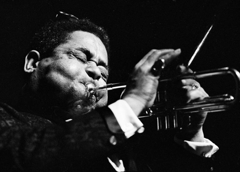 FILE - Jazz trumpeter Dizzy Gillespie is seen during the Boston Globe Jazz and Blues Festival in Boston, Jan. 15, 1966.