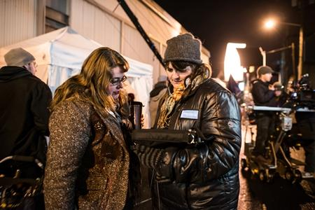 "Director Megan Griffiths, right, is seen on the set of ""Lucky Them."""