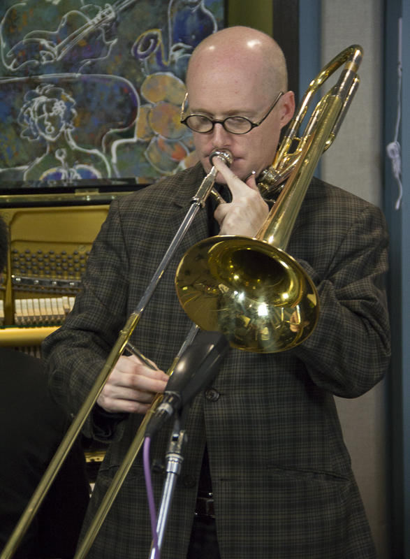 Trombonist David Marriott performing live with the Bellevue High School Jazz Combo in the KPLU studios.