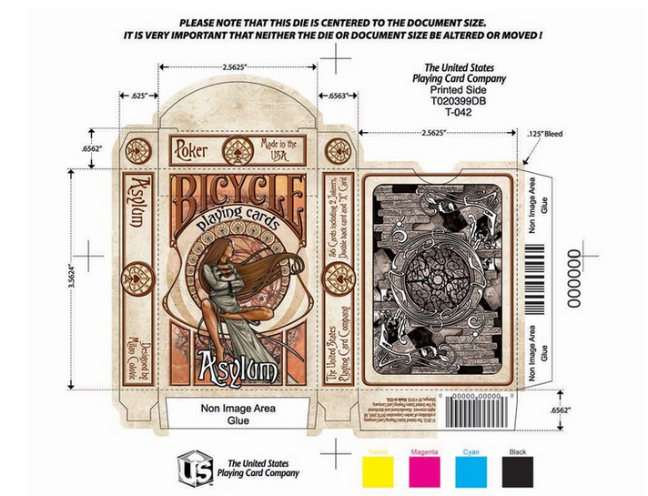 This screen grab from the Asylum Playing Cards' Kickstarter page shows the cards' designs.