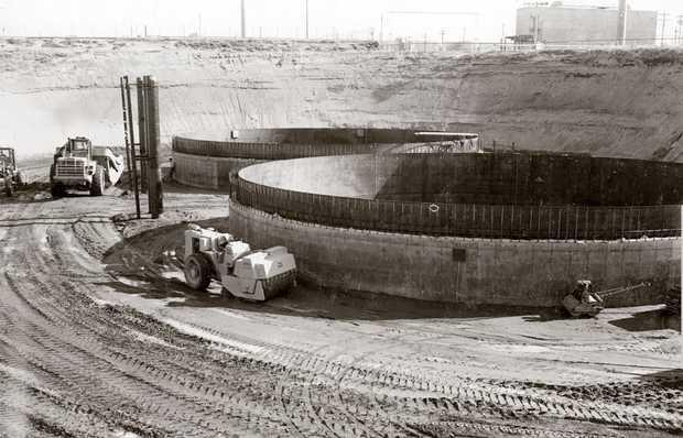 Two tanks under construction at Hanford Nuclear Reservation. Some construction workers there were exposed to multiple carcinogens.