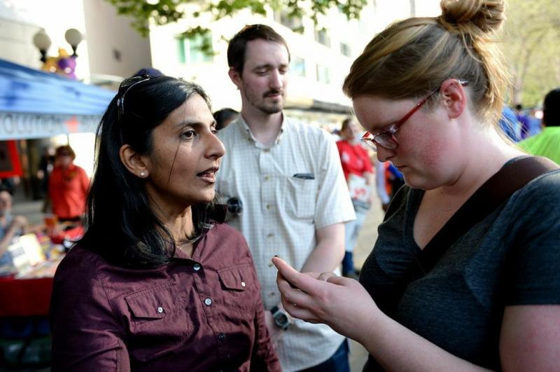 Seattle City Council member Kshama Sawant is seen at Westlake Park.