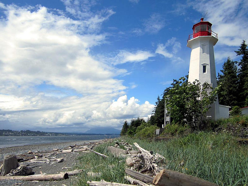 The Cape Mudge lighthouse guards the entrance to Discovery Channel on Quadra Island, British Columbia.