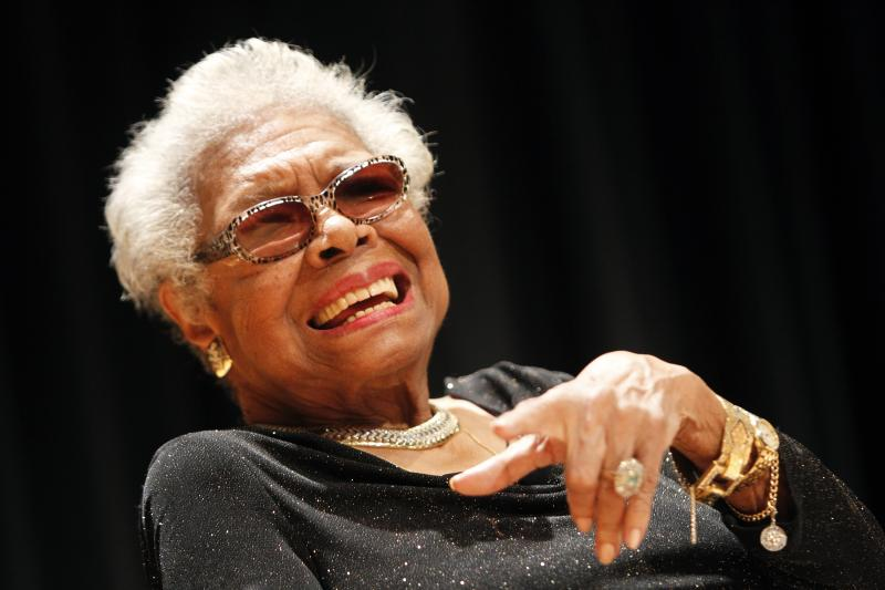 Maya Angelou answers questions at her portrait unveiling at the Smithsonian's National Portrait Gallery in Washington, D.C., on April 5. Angelou died May 28, at age 86.